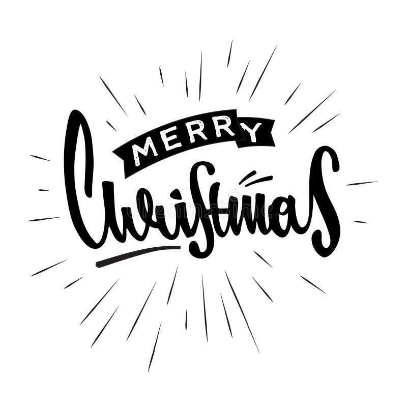圣诞快乐手拉的减速火箭的设计 现代书法和刷子字法 免版税库存照片