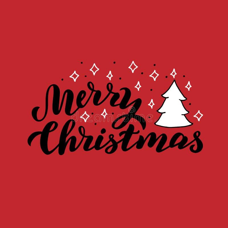 圣诞快乐手拉的卡片 假日xmas书法文本 与星和圣诞树的传统问候 库存例证