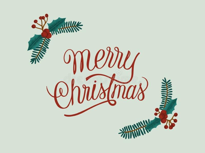 圣诞快乐手拉的卡片 向量例证