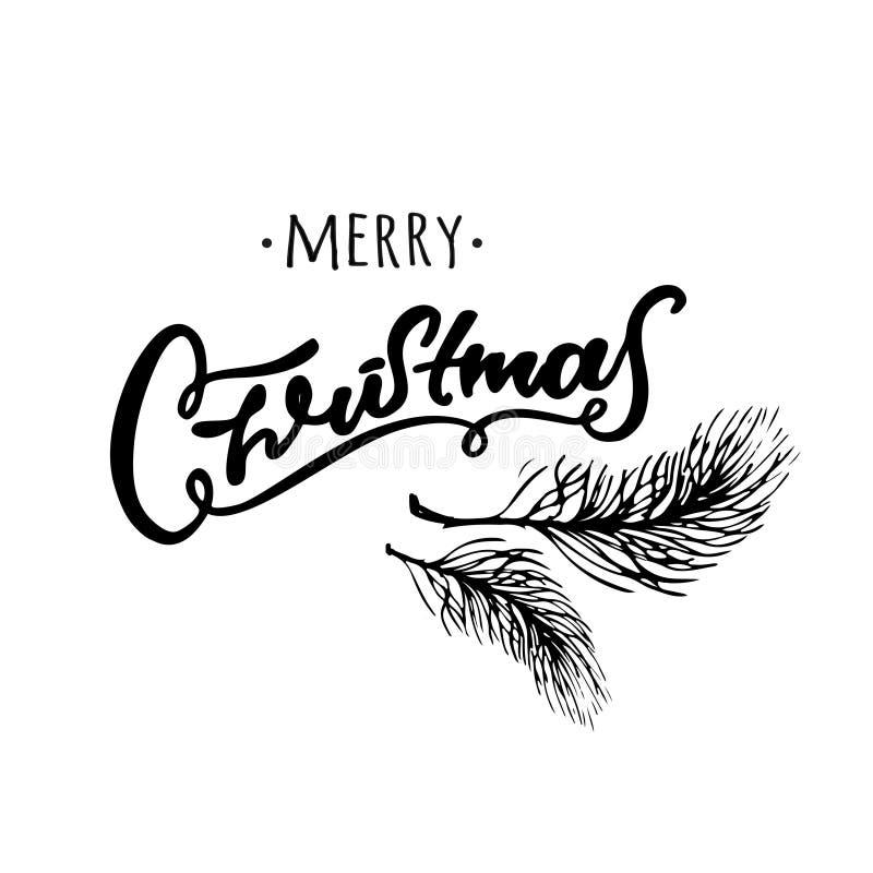 圣诞快乐手拉的设计 书面的黑白手 冷杉分支 图库摄影