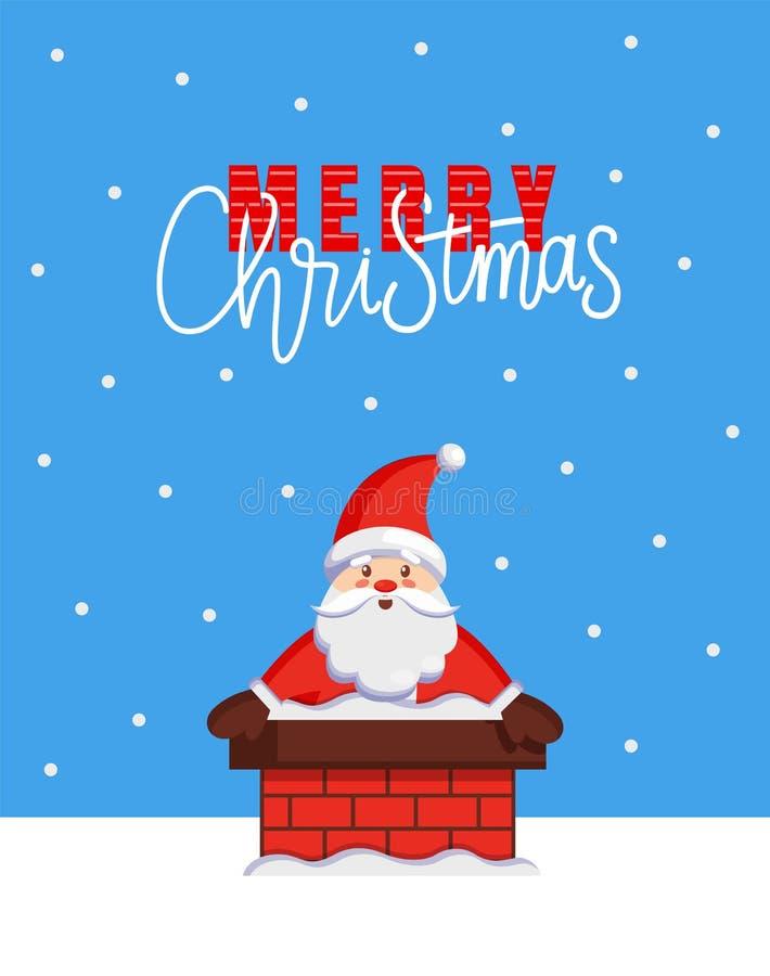 圣诞快乐拟订与从烟囱的圣诞老人神色 向量例证