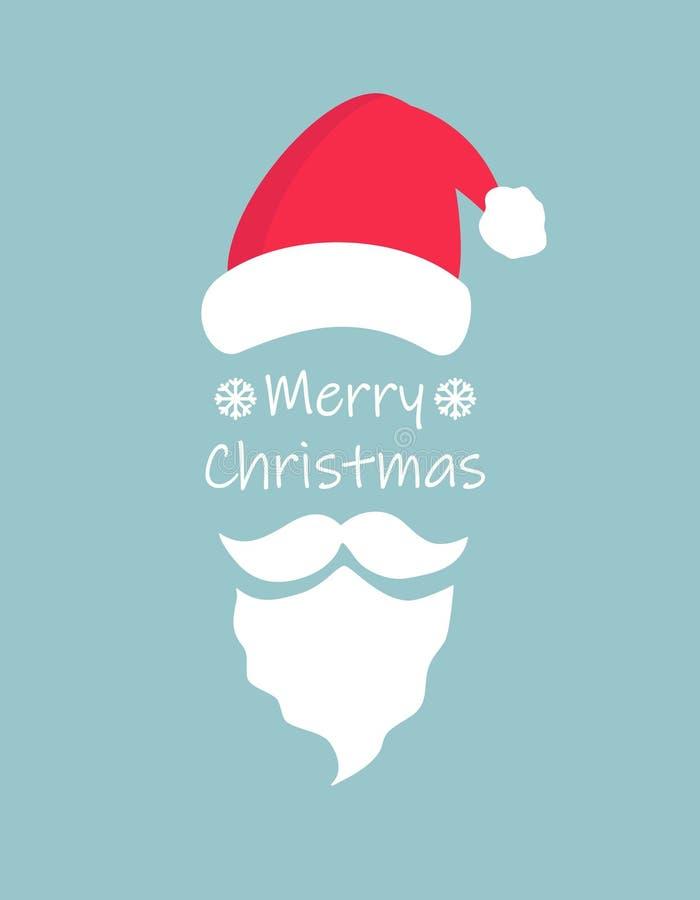 圣诞快乐排版贺卡,圣诞帽和蓝色背景的圣诞老人白胡子和八字胡 简单 库存例证