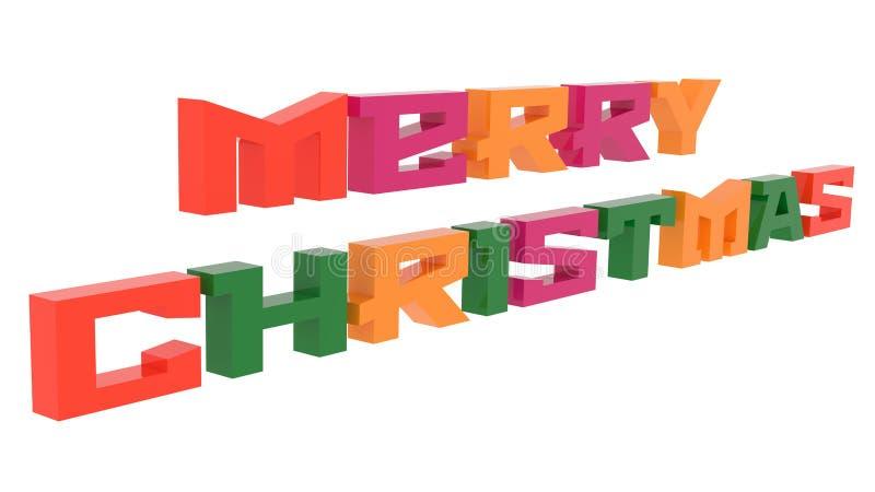 圣诞快乐措辞3D回报了与Techno地铁字体例证的文本上色与四联体的颜色6度 库存例证