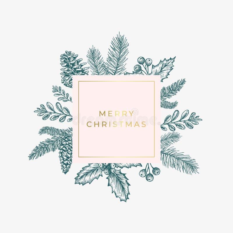 圣诞快乐摘要绿色与方形的框架横幅和现代金黄印刷术的叶子卡片 桃红色淡色 库存例证