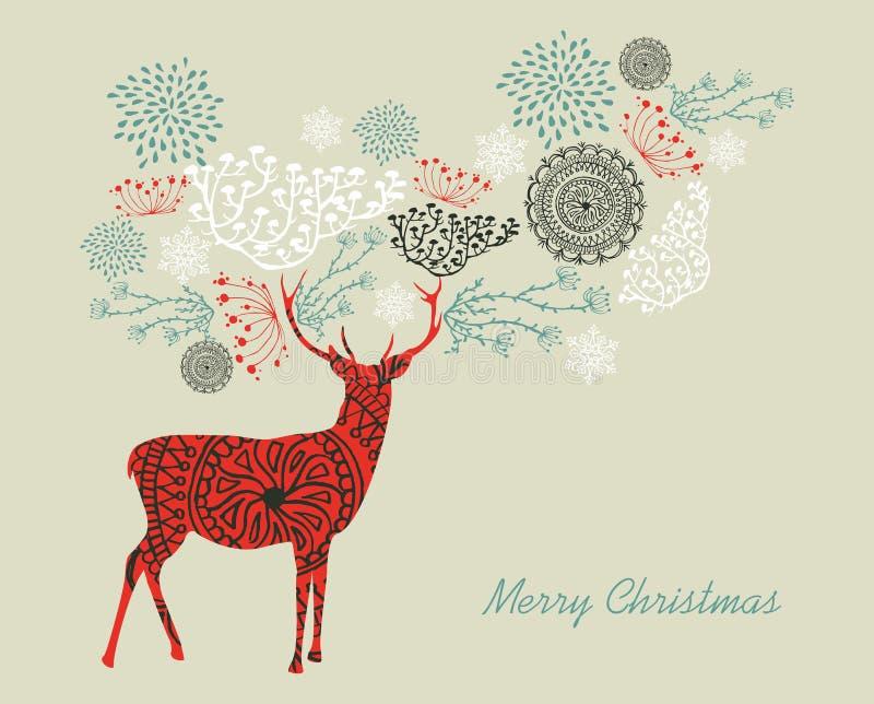 圣诞快乐文本葡萄酒驯鹿构成  皇族释放例证