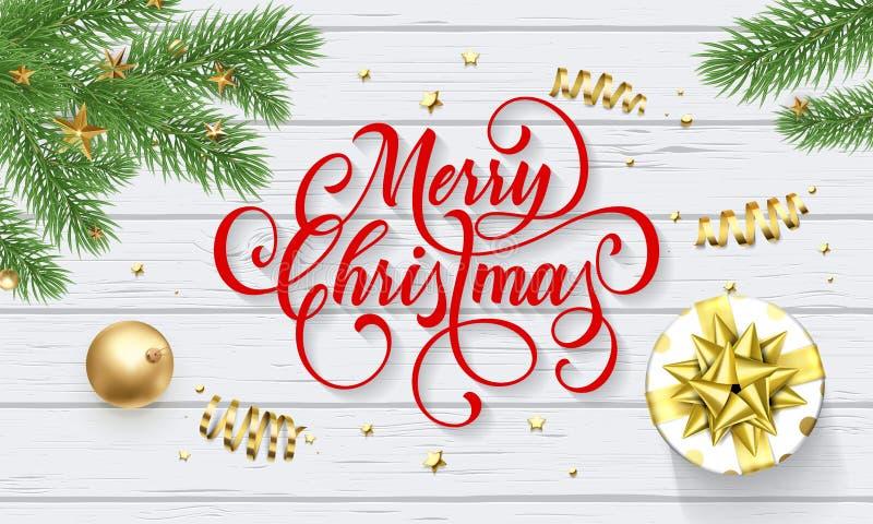 圣诞快乐新年礼物和金黄装饰球贺卡在白色木背景 传染媒介设计模板和Chr 向量例证