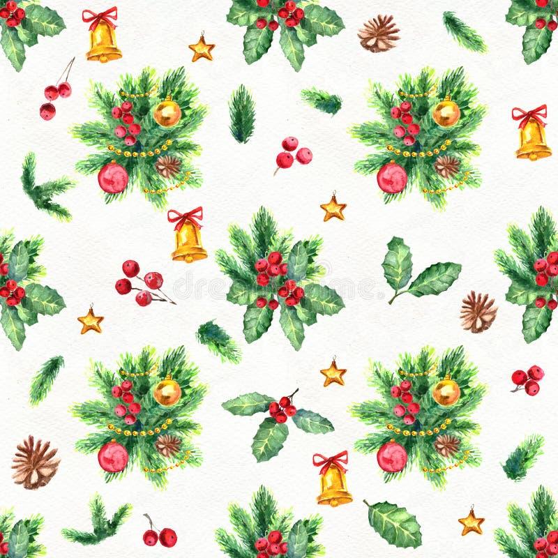 圣诞快乐无缝的模式 库存例证