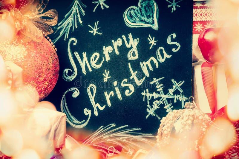 圣诞快乐有欢乐bokeh的招呼的加尔省 图库摄影