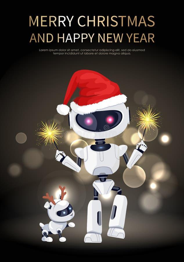 圣诞快乐机器人和狗传染媒介例证 向量例证
