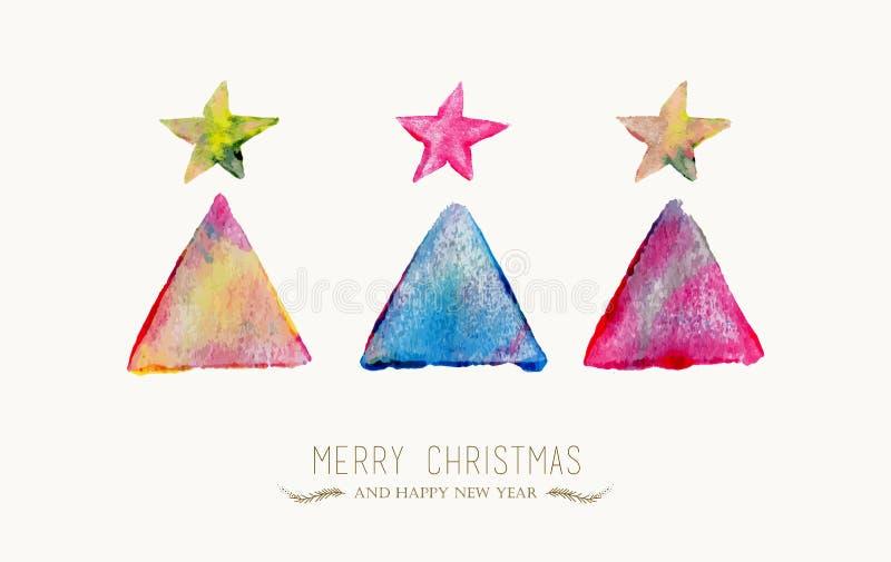 圣诞快乐杉树水彩贺卡 向量例证