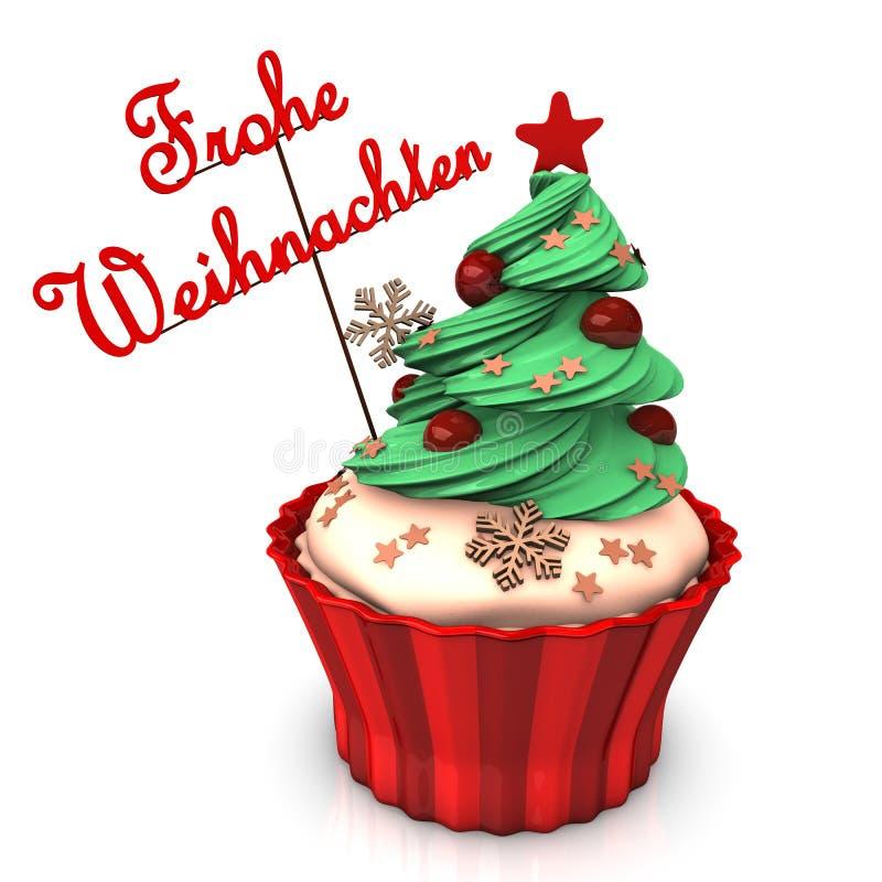 圣诞快乐杯形蛋糕 库存例证