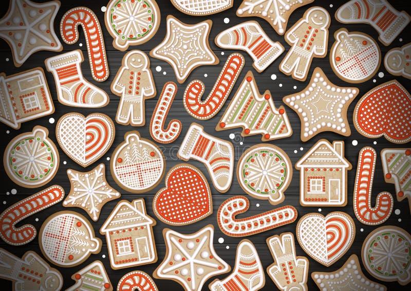 圣诞快乐构思设计顶视图  在木背景的假日曲奇饼 皇族释放例证