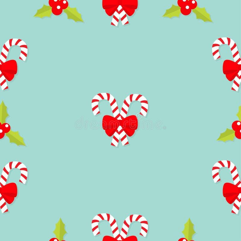 圣诞快乐棒棒糖忠心于红色弓 霍莉莓果象 槲寄生 绿色叶子三红色莓果 无缝的模式 平的d 皇族释放例证