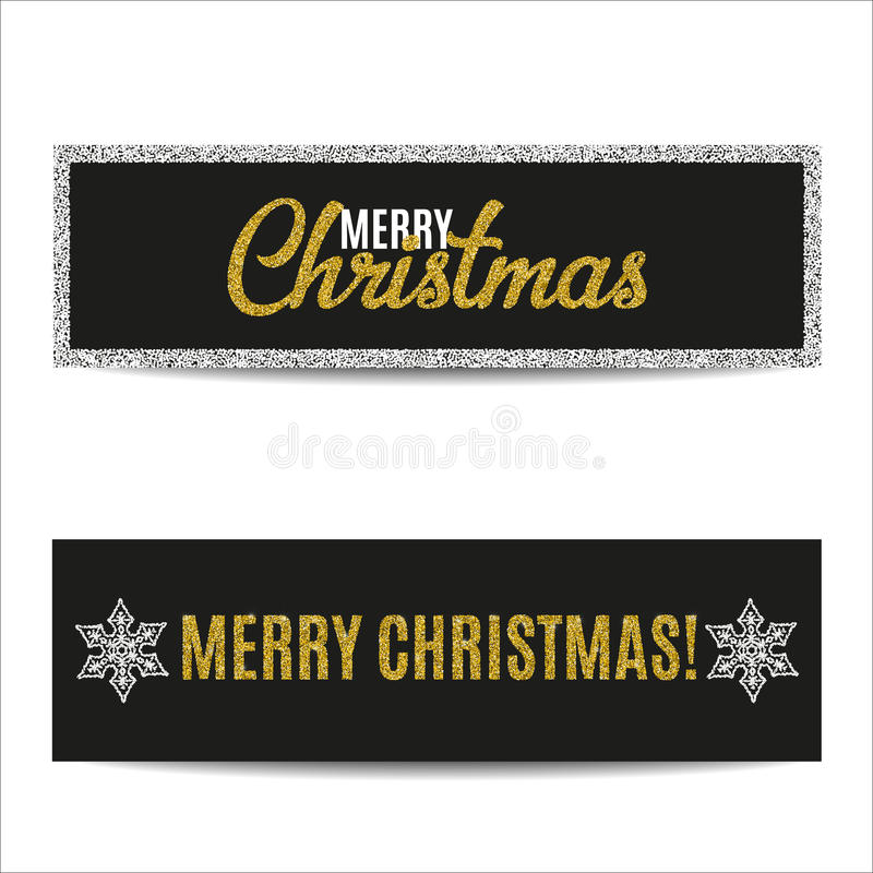圣诞快乐横幅设置了金黄文本和银雪花 库存例证
