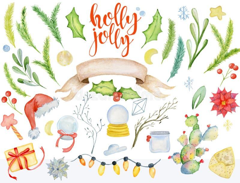 圣诞快乐水彩花卉冬天元素 新年快乐卡片,海报 花、云杉的分支和槲寄生分支 向量例证