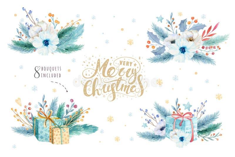 圣诞快乐水彩设置与花卉元素 新年快乐字法海报汇集 冬天花,礼物 库存例证