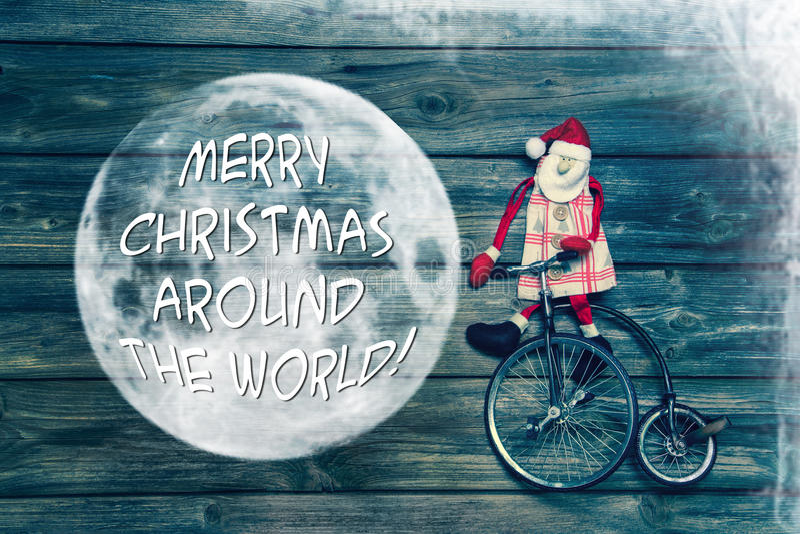 圣诞快乐环球-与文本装饰的贺卡 库存图片