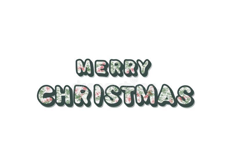 圣诞快乐登记 与装饰的手写的字法 也corel凹道例证向量 库存例证