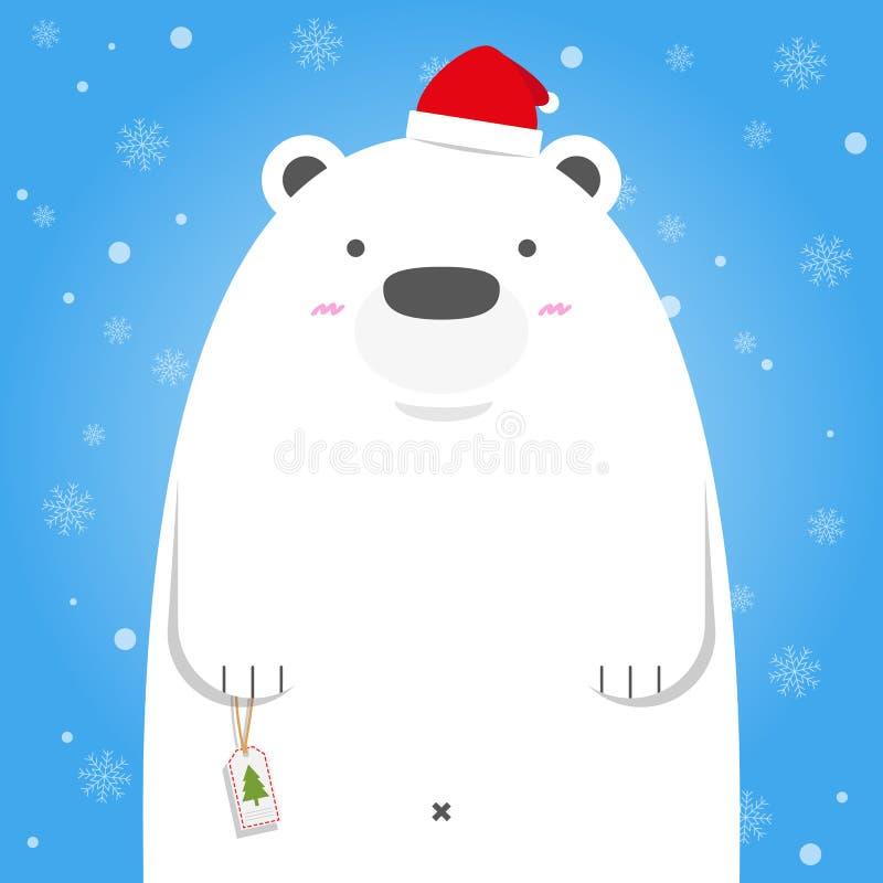 圣诞快乐白色北极熊穿戴圣诞老人帽子图片