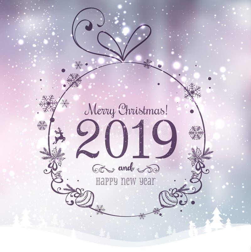 圣诞快乐的发光的Xmas球2019年和在假日背景的新年与与雪花的冬天风景,光,星 皇族释放例证