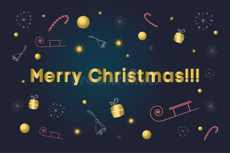 圣诞快乐看板卡 在背景的金文本与雪花,礼物,棒棒糖,响铃,星,雪橇 图库摄影