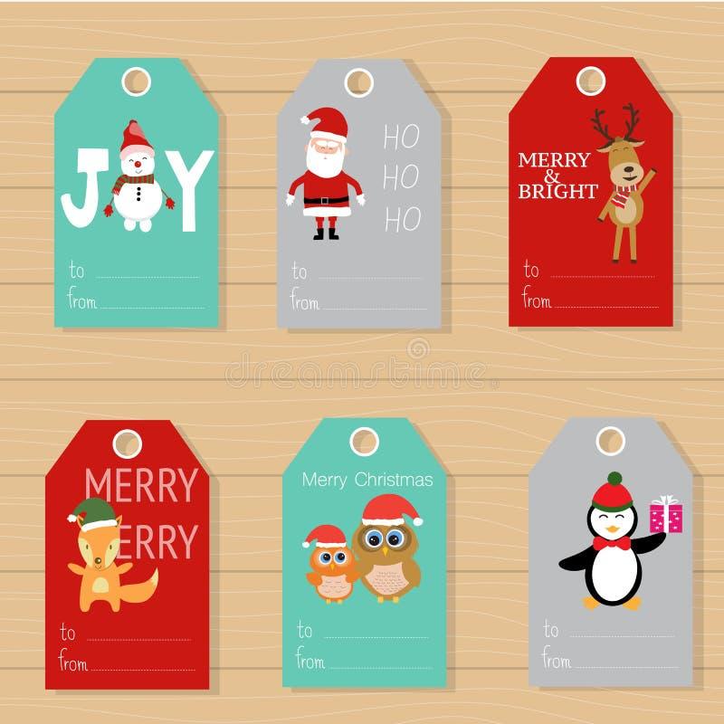 圣诞快乐礼物标记手字法为冬天holid设置了 向量例证