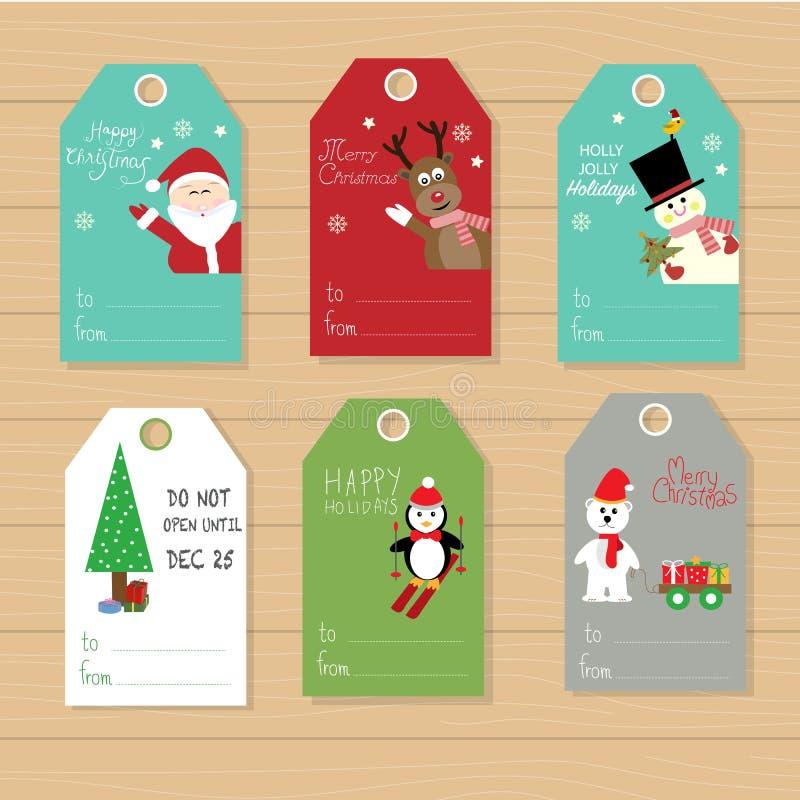 圣诞快乐礼物标记手字法在冬天设置了 向量例证