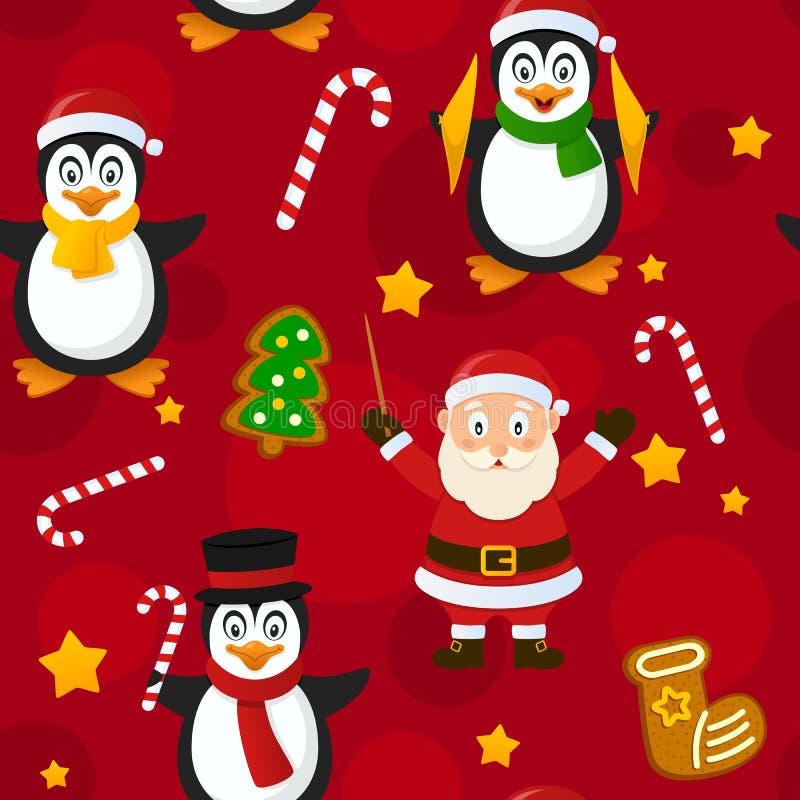 圣诞快乐红色无缝的样式 向量例证