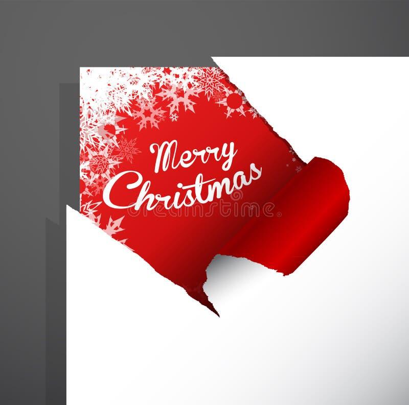 圣诞快乐纸切角与被揭露的雪花 皇族释放例证