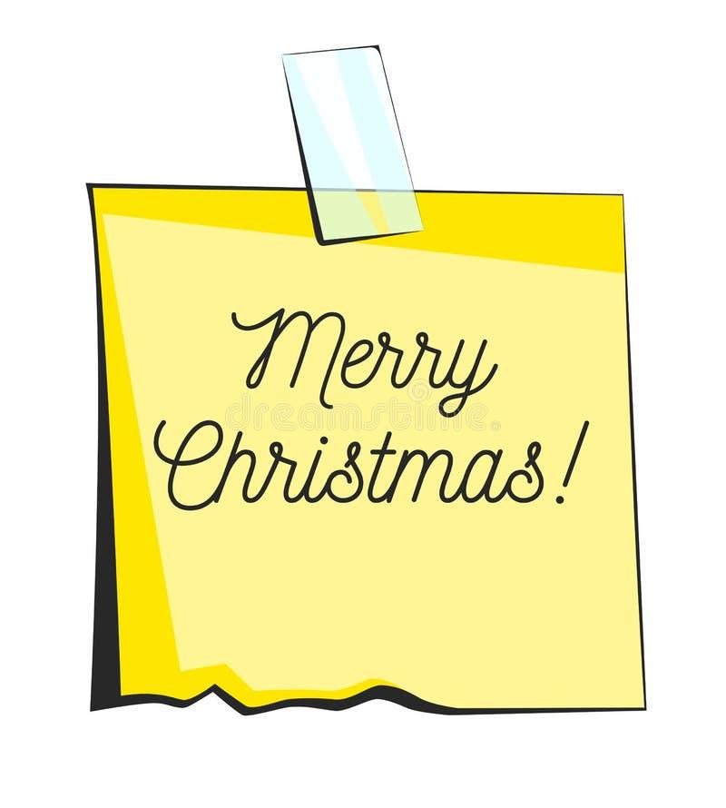 圣诞快乐纸稠粘的笔记 减速火箭的提示贴纸 库存例证