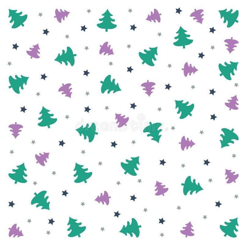 圣诞快乐背景:与树和星的墙纸 向量例证