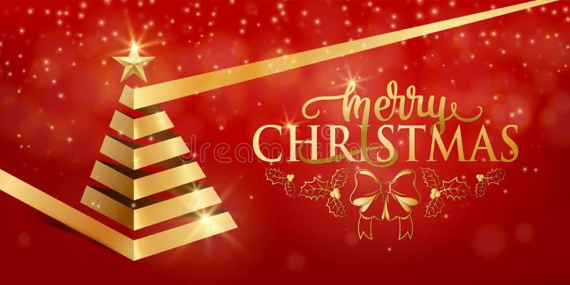圣诞快乐花梢豪华金丝带xmas树,在平的样式的金黄星 库存例证