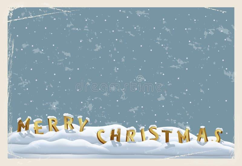 圣诞快乐葡萄酒明信片模板 圣诞快乐在雪的身分上写字在难看的东西蓝色背景 向量 皇族释放例证