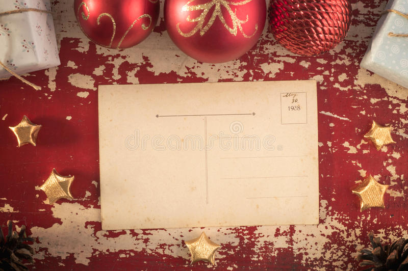 圣诞快乐葡萄酒行家明信片模板 免版税库存照片