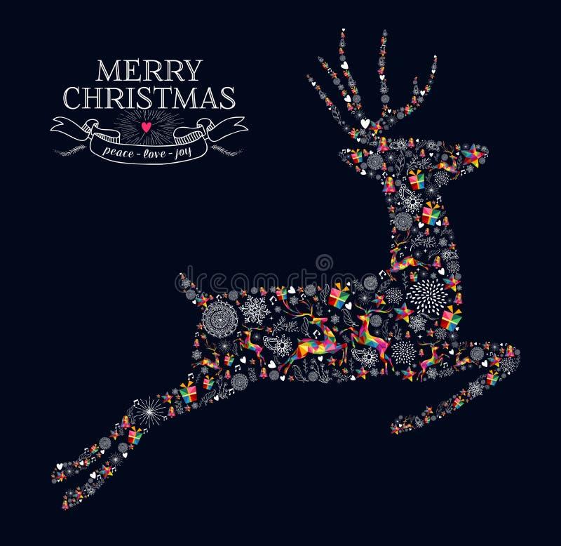 圣诞快乐葡萄酒驯鹿贺卡 向量例证