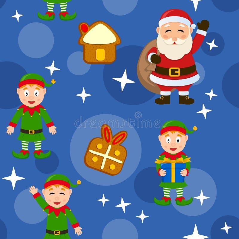 圣诞快乐蓝色无缝的样式 库存例证
