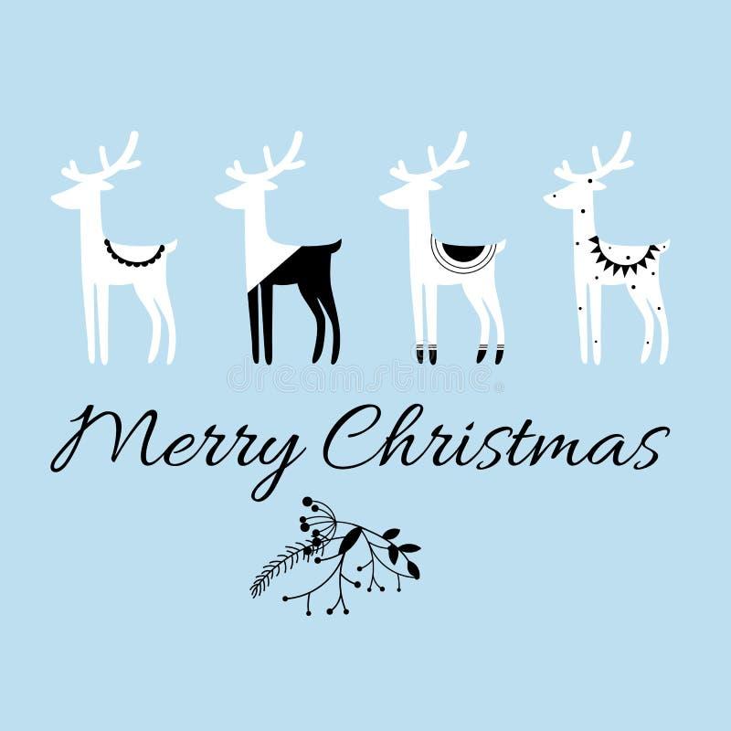 圣诞快乐行情、传染媒介文本和斯堪的纳维亚样式鹿`设计贺卡、印刷品、海报, t短裤和其他的s 向量例证