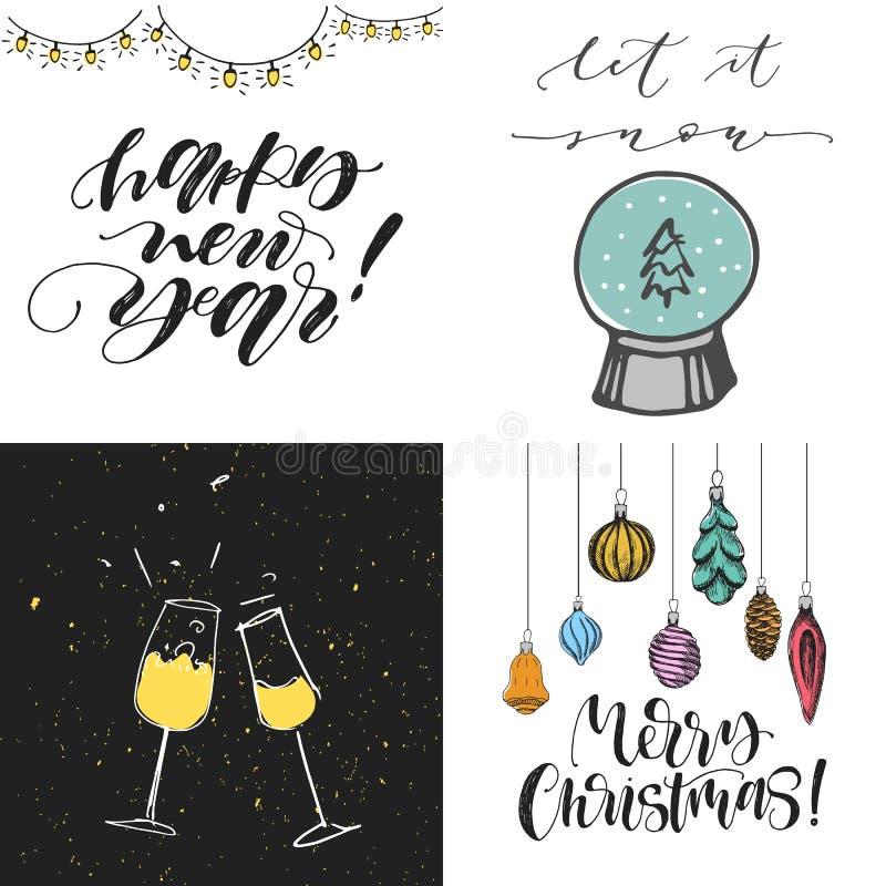 圣诞快乐被设置的贺卡 新年好杯香槟 与树玩具的圣诞快乐 让它下雪与雪glo 库存例证
