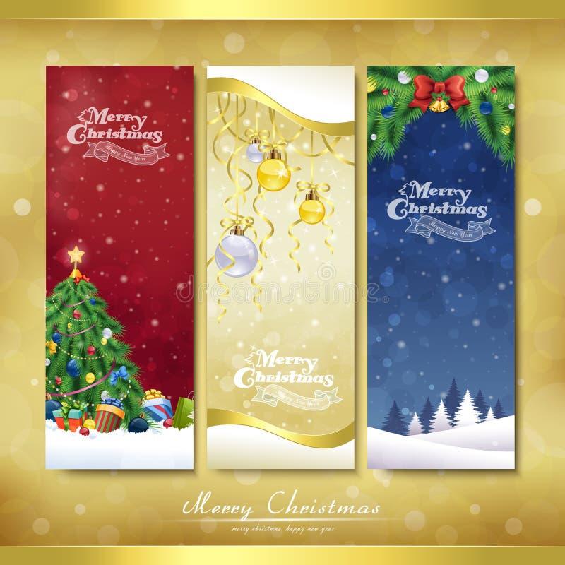 圣诞快乐装饰横幅集合 向量例证
