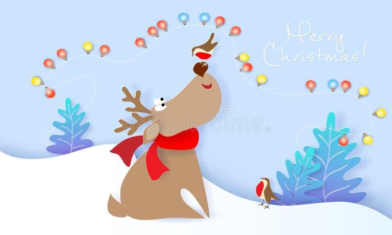 圣诞快乐设计与鹿和鸟的卡片 库存例证