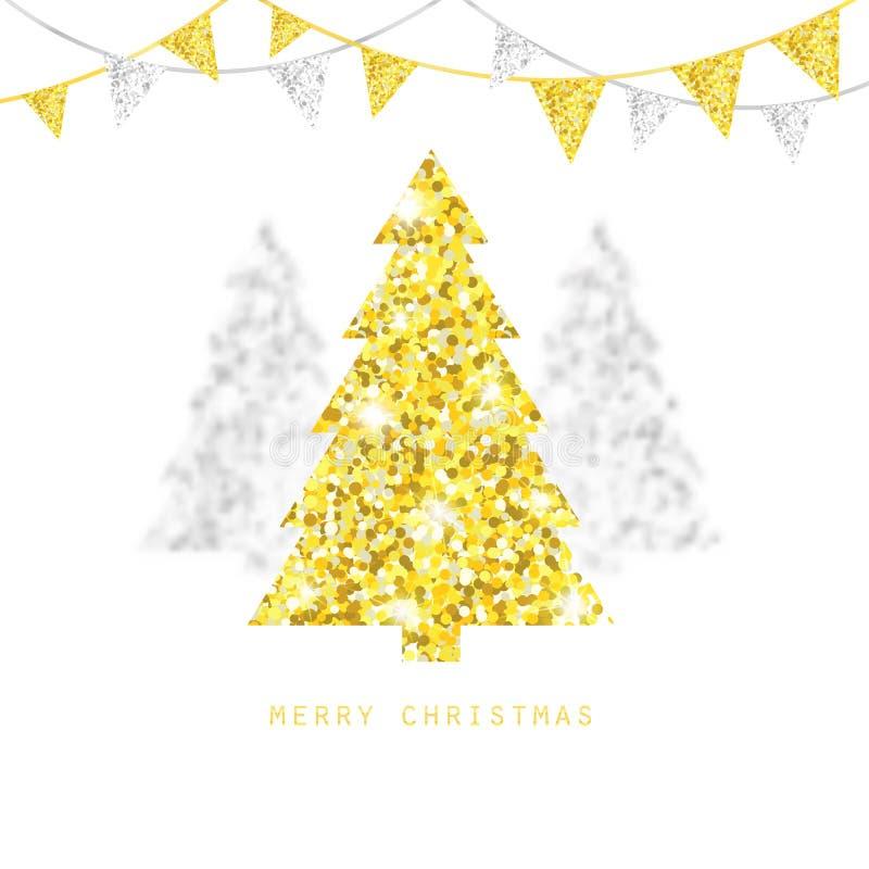 圣诞快乐设计 与闪烁旗布旗子的金黄和银色Xmas树 库存例证