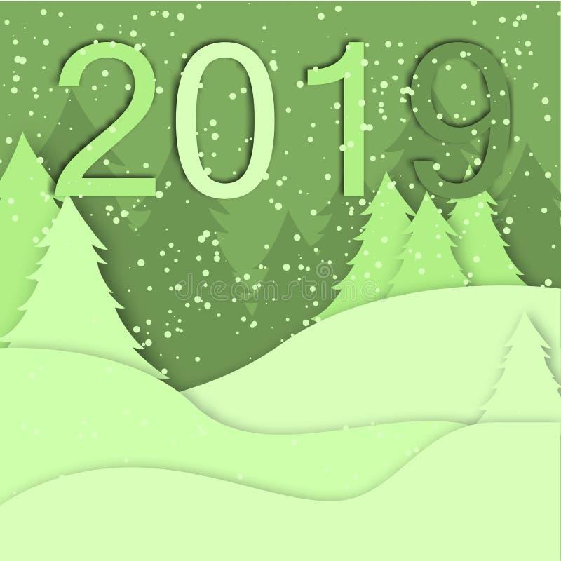 2019圣诞快乐贺卡传染媒介origami森林冬天xmas做杉树下雪纸艺术多雪的工艺样式papercut illu 皇族释放例证
