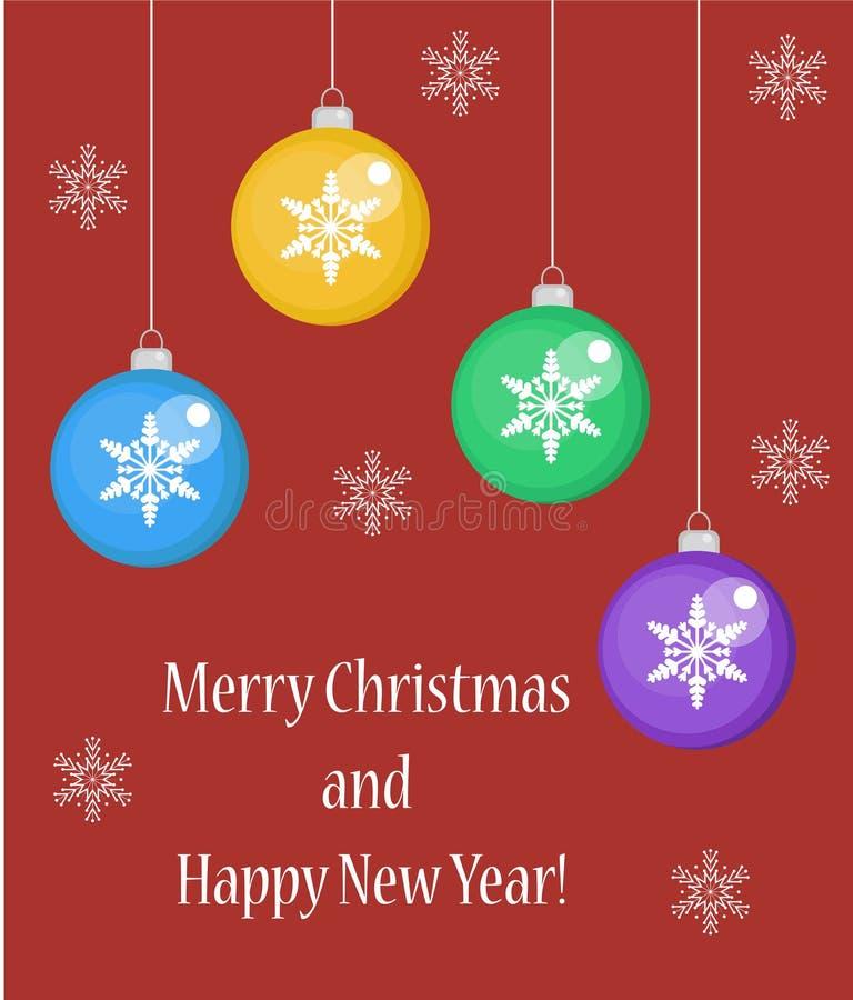 圣诞快乐贺卡或海报,飞行物,平的样式 您的设计的新年模板 也corel凹道例证向量 皇族释放例证