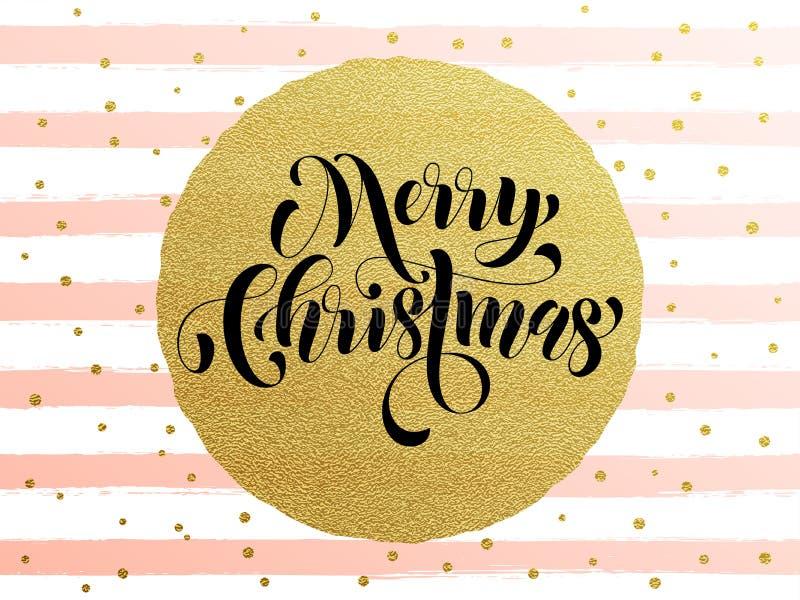 圣诞快乐金子闪烁镀金料贺卡 向量例证