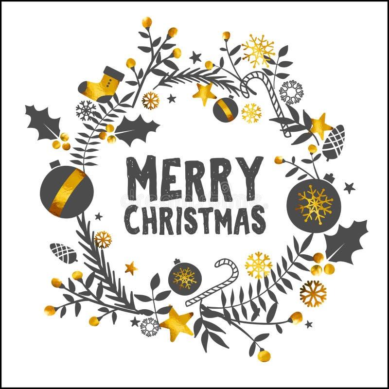 圣诞快乐金黄白色装饰品卡片 库存例证