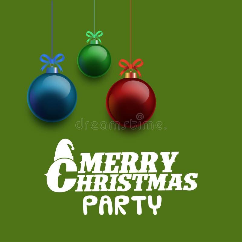 圣诞快乐集会背景光滑的球 皇族释放例证