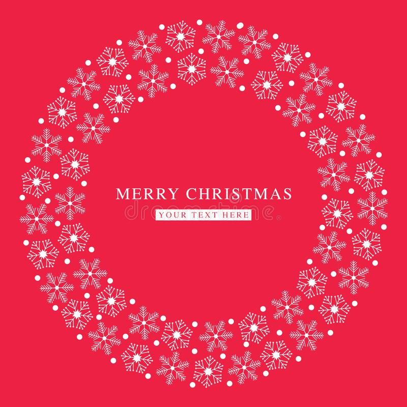 圣诞快乐雪花平的红色明信片 免版税图库摄影