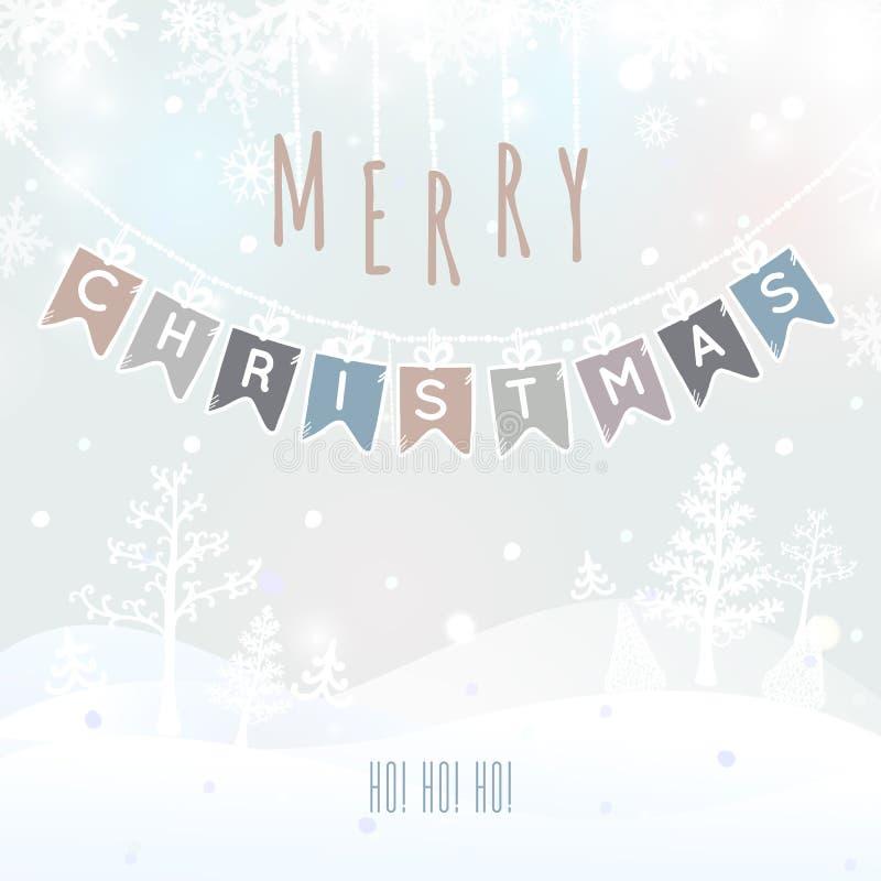 圣诞快乐风景,圣诞节贺卡有冬天背景 圣诞快乐假日愿望设计 向量 向量例证