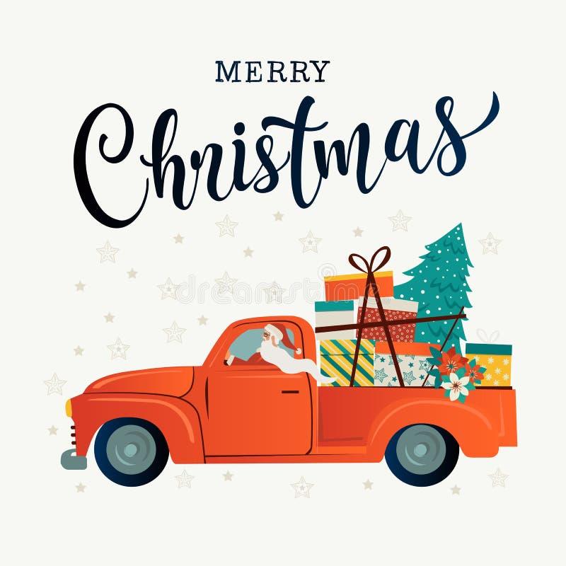 圣诞快乐风格化印刷术 葡萄酒红色汽车圣诞老人圣诞树和礼物盒 传染媒介平的样式 向量例证