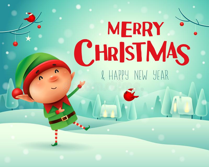 圣诞快乐!一点矮子在圣诞节雪场面冬天风景招呼 皇族释放例证